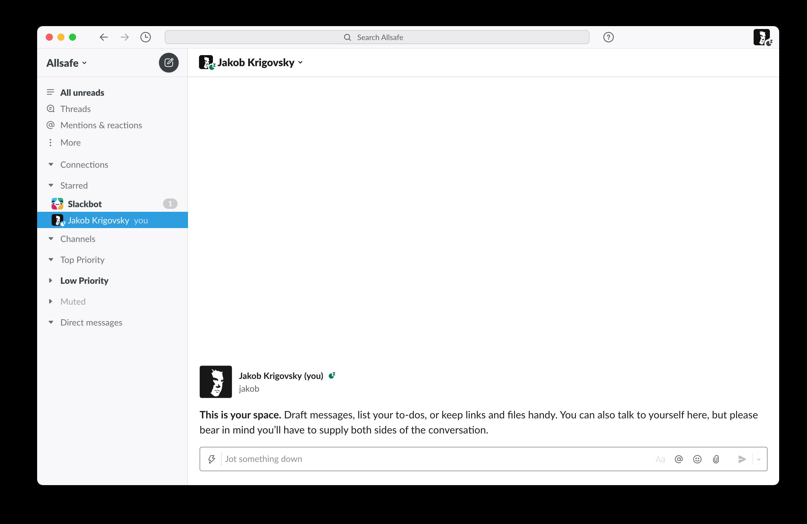 Screenshot of my Slack window
